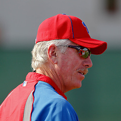 February 22, 2011; Clearwater, FL, USA; Formers Philadelphia Phillies hall of fame player Mike Schmidt working as a spring instructor during spring training at Bright House Networks Field. Mandatory Credit: Derick E. Hingle-US PRESSWIRE