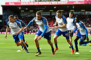 Jamie Vardy (9) of Leicester City warming up before the Premier League match between Bournemouth and Leicester City at the Vitality Stadium, Bournemouth, England on 30 September 2017. Photo by Graham Hunt.