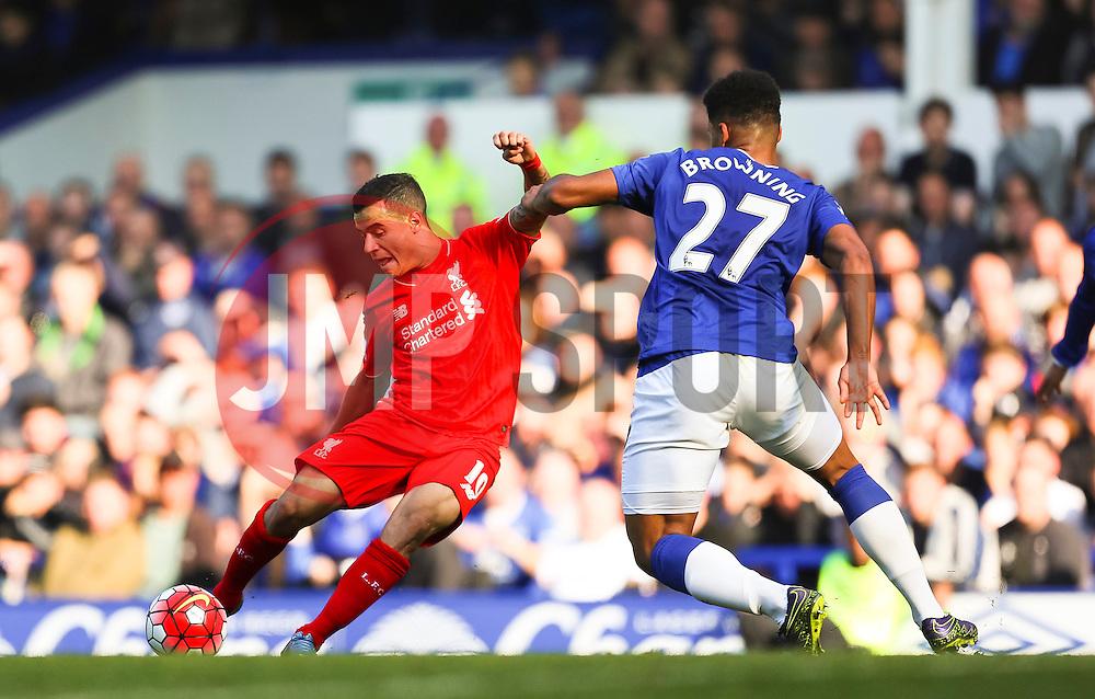 Philippe Coutinho of Liverpool fires a shot at goal - Mandatory byline: Matt McNulty/JMP - 07966 386802 - 04/10/2015 - FOOTBALL - Goodison Park - Liverpool, England - Everton  v Liverpool - Barclays Premier League