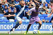 David Cotterill battles with Oliver Norwood during the Sky Bet Championship match between Birmingham City and Reading at St Andrews, Birmingham, England on 8 August 2015. Photo by Alan Franklin.