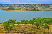 South Saskatchewan River and rolling hills of mixed grass prairie<br />Saskatchewan Landing Provincial Park<br />Saskatchewan<br />Canada