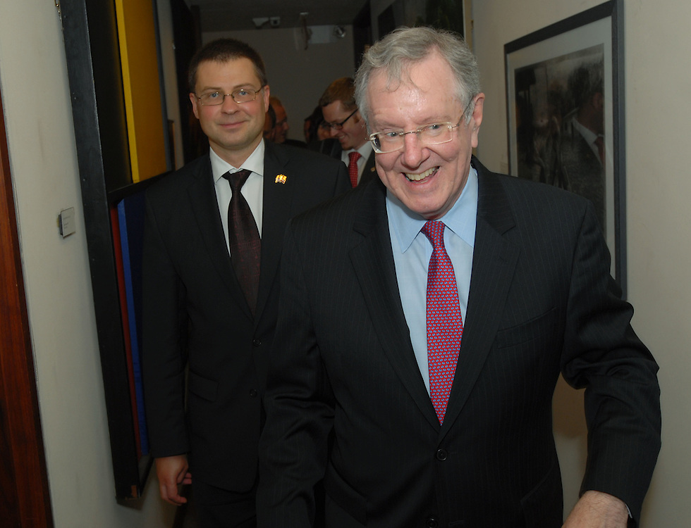 Malcolm 'Steve' Forbes CEO of Forbes Inc. and Editor in Chief of Forbes magazine, meets the Prime Minister of Latvia Valdis Dombrovskis at Forbes Magazine on 5th Avenue in New York City.