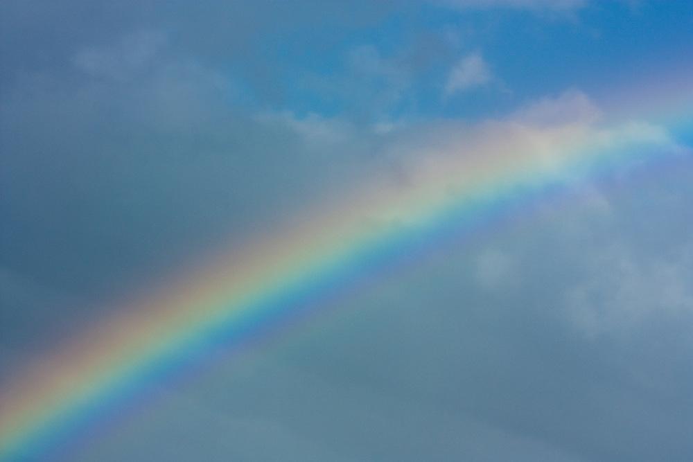 Rainbow agaist a blue sky