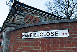 © Licensed to London News Pictures. 25/03/2016. London, UK. General view of Magpie Close sign in Magpie Close in Forest Gate, east London. Five people have been taken to hospital, with one man in a critical condition. Photo credit : Vickie Flores/LNP