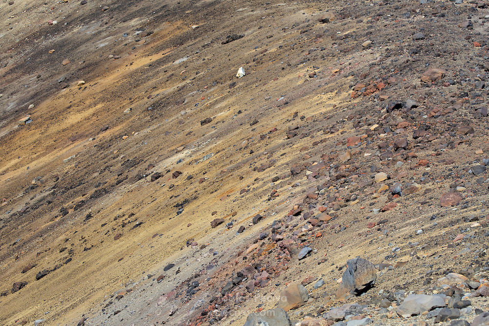 Colorful scree slope near the summit of active volcano Mount Ruapehu, in Tongariro National Park, New Zealand.