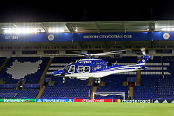 The Leicester City owners helicopter lands on the pitch after the match - Mandatory by-line: Matt McNulty/JMP - 27/09/2016 - FOOTBALL - King Power Stadium - Leicester, England - Leicester City v FC Porto - UEFA Champions League