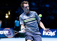 Tennis - 2017 Nitto ATP Finals at The O2 - Day One<br /> <br /> Mens Doubles: Group Eltingh/Haarhus: Henri Kontinen (Finland) & John Peers (Australia) Vs Ryan Harrison (United States) & Michael Venus (Australia)<br /> <br /> Henri Kontinen (Finland) prepares to return the ball <br /> <br /> COLORSPORT/DANIEL BEARHAM