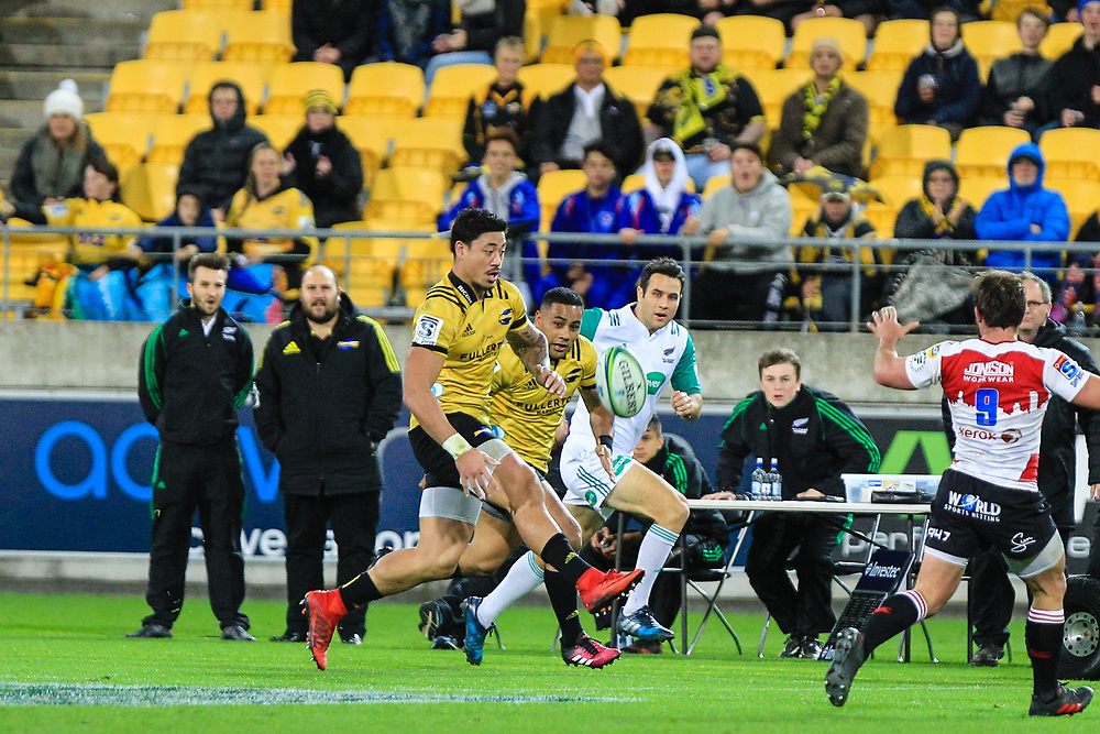 Ben Lam prepares to catch during the Super rugby (Round 12) match played between Hurricanes  v Lions, at Westpac Stadium, Wellington, New Zealand, on 5 May 2018.  Hurricanes won 28-19.