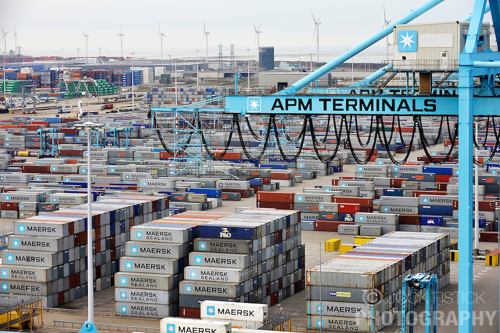 Stacks of A.P. Moeller-Maersk A/S containers sit at the APM Terminal at the Port of Rotterdam, in The Netherlands, on Tuesday, Oct. 27, 2009. (Photo © Jock Fistick)