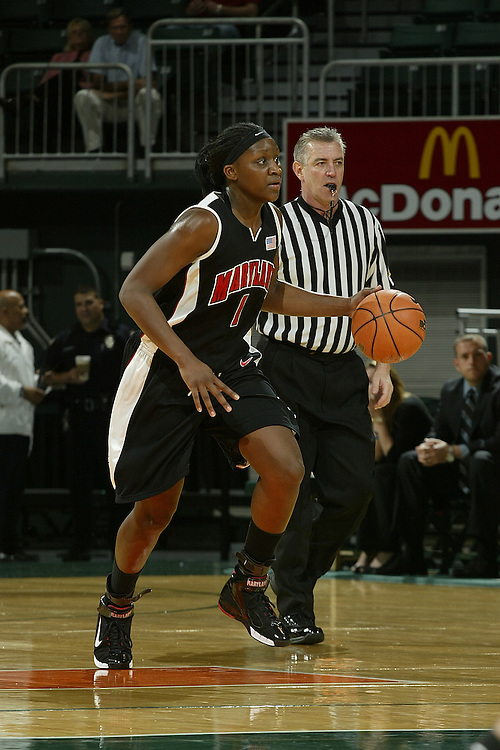 University of Maryland center Crystal Langhorne in action during the Terrapins 111-53 victory over the Miami Hurricanes on January 10, 2007 at the BankUnited Center in Coral Gables, Florida.