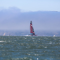 Emirates Team New Zealand Team races on their own during the first Round Robin of the Louis Vuitton Cup in the America's Cup