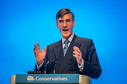 © Licensed to London News Pictures. 29/09/2019. Manchester, UK. Jacob Rees-Mogg speaking at the Conservative Party Conference at Manchester Central in Manchester. Photo credit: Andrew McCaren/LNP