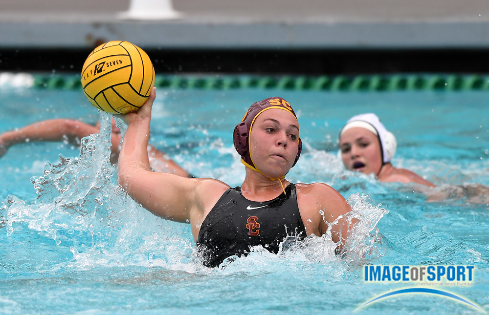 Southern California Trojans 2-meter player Kaylee Brownsberge (18) against the Wagner Seahawks during an NCAA college women's water polo quarterfinal game in Los Angeles, Friday, May 11, 2018. USC defeated Wagner 12-5.  (Kirby Lee via AP)