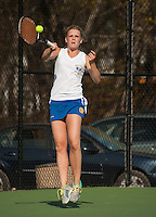 Gilford's Lindsey Corsack during her singles match with White Mountain on Wednesday afternoon.  (Karen Bobotas/for the Laconia Daily Sun)