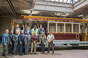 Group of Shop Personnel with Restored Cable Car 51 | December 3, 2014