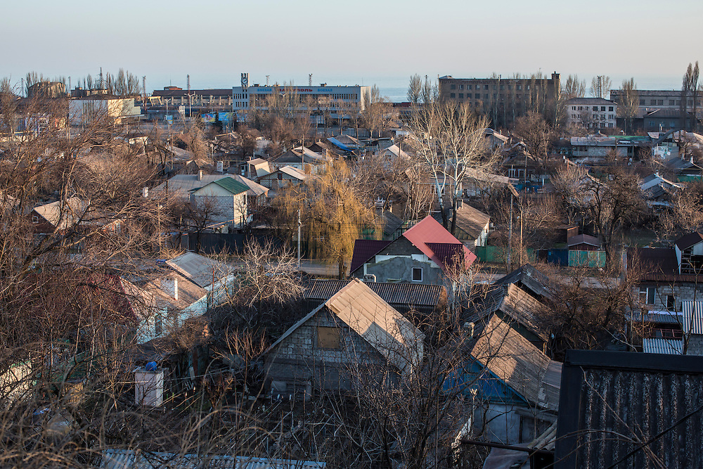 A coastal neighborhood on Sunday, March 8, 2015 in Mariupol, Ukraine. Photo by Brendan Hoffman, Freelance