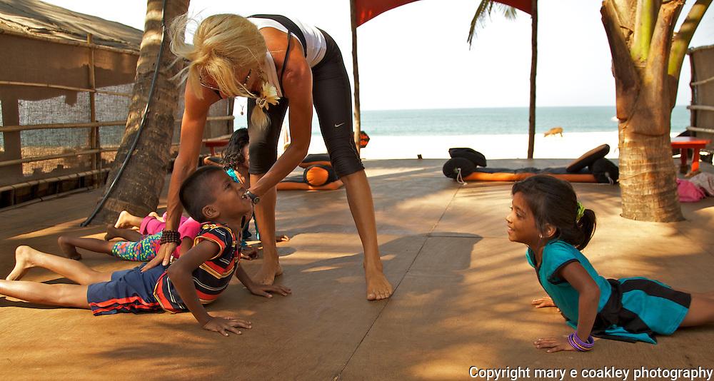 Yoga on Agonda Beach, Goa India