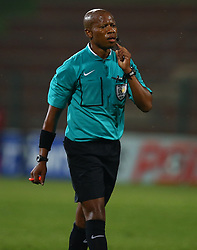 Referee Mr Nkosinathi Mahono during the 2016 Premier Soccer League match between Supersport United and The Free Stat Stars held at the King Zwelithini Stadium in Durban, South Africa on the 24th September 2016<br /> <br /> Photo by:   Steve Haag / Real Time Images