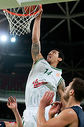 Danny Green of Union Olimpija dunks during basketball match between KK Union Olimpija and Asseco Prokom Gdynia (POL) of 3rd Round in Group D of Regular season of Euroleague 2011/2012 on November 2, 2011, in Arena Stozice, Ljubljana, Slovenia. (Photo by Matic Klansek Velej / Sportida)