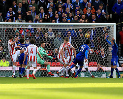 Vicente Iborra of Leicester City scores the opening goal for his side (0-1) - Mandatory by-line: Paul Roberts/JMP - 04/11/2017 - FOOTBALL - Bet365 Stadium - Stoke-on-Trent, England - Stoke City v Leicester City - Premier League
