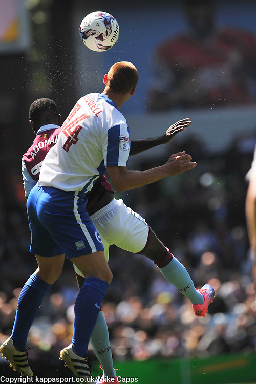 STEVE SIDWELL BRIGHTON AND HOVE ALBION BATTLES WITH ASTON VILLA ALBERT ADOMAH, Aston Villa v Brighton &amp; Hove Albion Sky Bet Championship Villa Park, Brighton Promoted to Premiership Sunday 7th May 2017 Score 1-1 <br /> Photo:Mike Capps