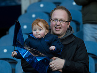 EDINBURGH, SCOTLAND - FEBRUARY 11: A young Scottish supporter during the NatWest Six Nations match between Scotland and France at Murrayfield on February 11, 2018 in Edinburgh, Scotland. (Photo by MB Media/Getty Images)