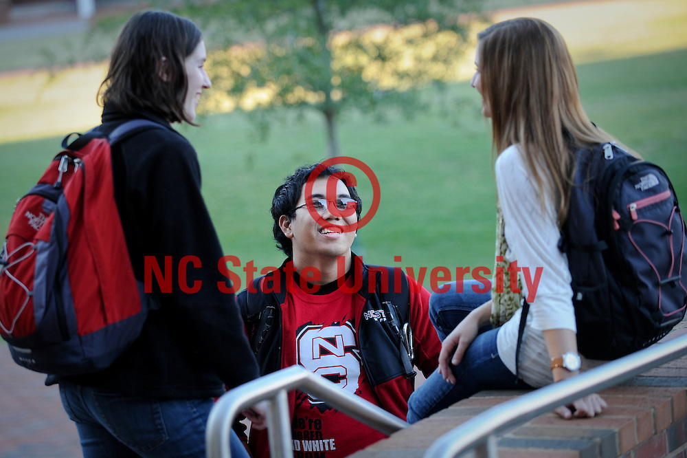 NCSU students chat on the stairs of Fox Hall in between classes. Photo by Becky Kirkland