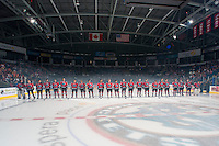 KELOWNA, CANADA - SEPTEMBER 21:  The Kelowna Rockets stand on the ice during the regular season home opener against the Kamloops Blazers at the Kelowna Rockets on September 21, 2013 at Prospera Place in Kelowna, British Columbia, Canada (Photo by Marissa Baecker/Shoot the Breeze) *** Local Caption ***