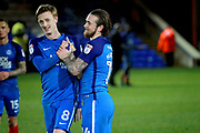 Peterborough United striker Jack Marriott (14) and Peterborough United midfielder Chris Forrester (8) celebrate after the EFL Sky Bet League 1 match between Peterborough United and Oldham Athletic at London Road, Peterborough, England on 20 January 2018. Photo by Nigel Cole.
