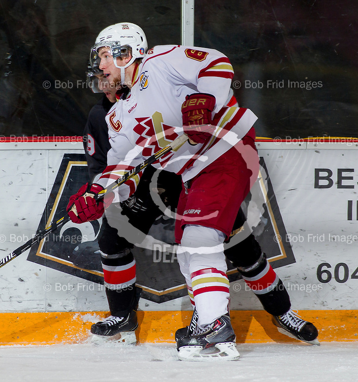 22 November 2014:  Eric Roberts (6) of the Chiefs  during a game between the Chilliwack Chiefs and the Coquitlam Express at Prospera Centre, Chilliwack, BC.    ****(Photo by Bob Frid - All Rights Reserved 2014): mobile: 778-834-2455 : email: bob.frid@shaw.ca ****