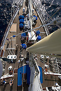 Mandatory mast climbing for passengers aboard Star Flyer.