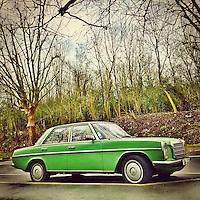 Retro  car transport in green