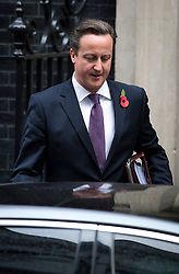 © London News Pictures. 31/10/2012. London, UK.  British Prime Minister David Cameron leaving Number 10 Downing street before Prime Minister Questions on October 31, 2012. Photo credit: Ben Cawthra/LNP
