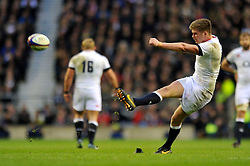 Owen Farrell (England) kicks for the posts - Photo mandatory by-line: Patrick Khachfe/JMP - Tel: Mobile: 07966 386802 16/11/2013 - SPORT - RUGBY UNION -  Twickenham Stadium, London - England v New Zealand - QBE Autumn Internationals.
