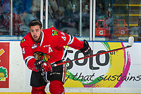 KELOWNA, CANADA - APRIL 7: Keoni Texeira #44 of the Portland Winterhawks skates to the bench after losing his helmet in a collision at the boards with a player of the Kelowna Rockets on April 7, 2017 at Prospera Place in Kelowna, British Columbia, Canada.  (Photo by Marissa Baecker/Shoot the Breeze)  *** Local Caption ***