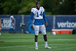 July 28, 2018 - Westfield, IN, U.S. - WESTFIELD, IN - JULY 28: Indianapolis Colts wide receiver Zach Pascal (14) warms up before the Indianapolis Colts training camp practice on July 28, 2018 at the Grand Park Sports Campus in Westfield, IN. (Photo by Zach Bolinger/Icon Sportswire) (Credit Image: © Zach Bolinger/Icon SMI via ZUMA Press)