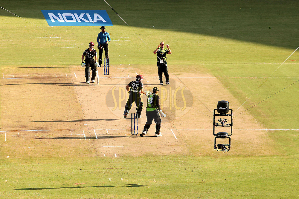 Spidercam at work during match 19 of the NOKIA Champions League T20 ( CLT20 )between the Warriors and Somerset held at the  M.Chinnaswamy Stadium in Bangalore , Karnataka, India on the 5th October 2011..Photo by Ron Gaunt/BCCI/SPORTZPICS