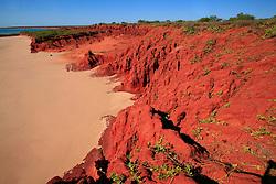 Red pindan cliffs meet the beach at James Price Point on the Kimberley's Dampier Peninsular.