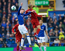 LIVERPOOL, ENGLAND - Sunday, March 3, 2019: Liverpool's Fabio Henrique Tavares 'Fabinho' and Everton's Gylfi Sigurdsson during the FA Premier League match between Everton FC and Liverpool FC, the 233rd Merseyside Derby, at Goodison Park. (Pic by Laura Malkin/Propaganda)