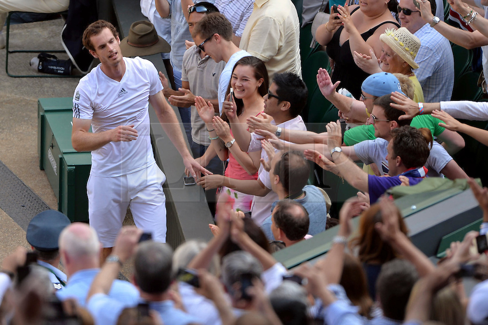 © Licensed to London News Pictures. 15/12/2013. London, UK FILE PICTURE: 07/07/2013 Men's singles final at Wimbledon. Andrew Murray, Andy Murray, reacts after he defeats Novak Djocovic, Serbia. Photo credit : Mike King/LNP