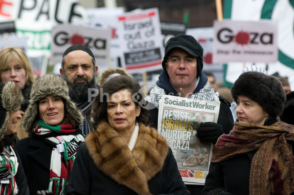 Thousands of protestors; led by Tony Benn MP; George Gallaway; Annie Lennox and Bianca Jagger; march in support of Palestine; stopping in Trafalgar Square for speeches, London 3 January 2009,