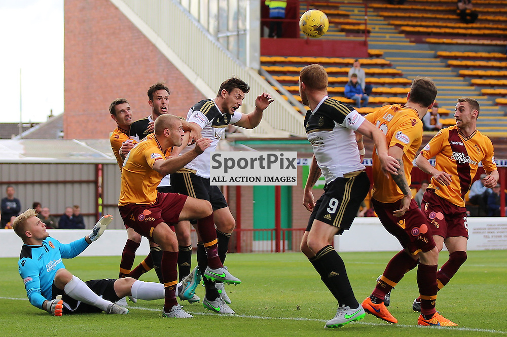Motherwell v Aberdeen Scottish Premiership 15 August 2015; Ashton Taylor (Aberdeen 5) puts Aberdeen ahead  during the Motherwell v Aberdeen Scottish Premiership match played at Fir Park Stadium, Edinburgh; <br /> <br /> &copy; Chris McCluskie | SportPix.org.uk