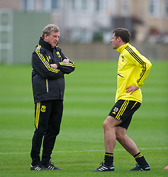 LIVERPOOL, ENGLAND - Wednesday, September 15, 2010: Liverpool's manager Roy Hodgson with Jamie Carragher during a training session at Melwood Training Ground ahead of the opening UEFA Europa League Group K match against FC Steaua Bucuresti. (Photo by David Rawcliffe/Propaganda)