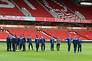 Bolton U23 players inspecting the pitch ahead of during the U23 Professional Development League Play-Off Final match between Nottingham Forest and Bolton Wanderers at the City Ground, Nottingham, England on 4 May 2018. Picture by Jon Hobley.