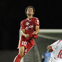 Richmond Kickers midfielder David Bulow heads the ball during a United Soccer League Pro soccer match between the Richmond Kickers and the Orlando City Lions at the Florida Citrus Bowl on May 25, 2011 in Orlando, Florida.  (AP Photo/Alex Menendez)