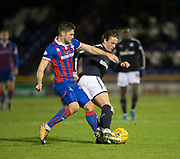 30th January 2018, Tulloch Caledonian Stadium, Inverness, Scotland; Scottish Cup 4th round replay, Inverness Caledonian Thistle versus Dundee; Dundee's Scott Allan shields the ball from Inverness Caledonian Thistle's Iain Vigurs