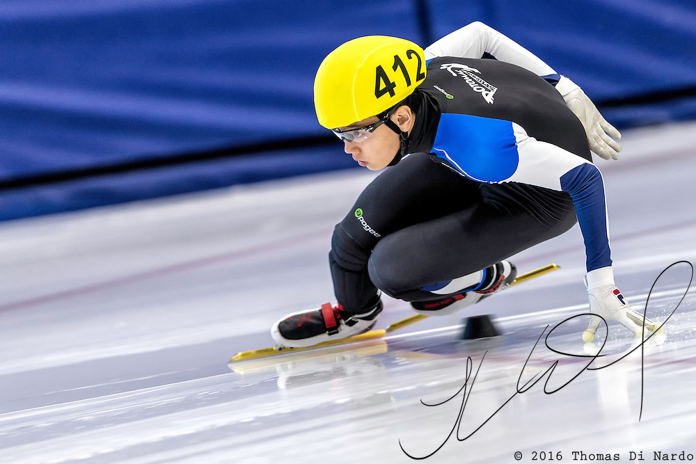 December 17, 2016 - Kearns, UT - Brandon Kim skates during US Speedskating Short Track Junior Nationals and Winter Challenge Short Track Speed Skating competition at the Utah Olympic Oval.