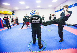 Alan kicking the hoop, Stef Noij, KMG Instructor from the Institute Krav Maga Netherlands, takes the IKMS G Level Programme seminar today at the Scottish Martial Arts Centre, Alloa.