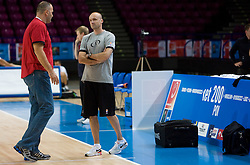 Mario Kraljevic and Head coach Jure Zdovc  at practice of Slovenian National Basketball team in Arena Torwar two days before the beginning of the Eurobasket 2009, on September 05, 2009 in Warsaw, Poland. (Photo by Vid Ponikvar / Sportida)