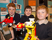 (Raheen NS) Scoil Naomh Cuan's Colin Treacy, Dylan Mooney and Shane McDermott with one of their projects at the Jnr Lego League organized through schools by the Galway Education Centre at The Radisson blu hotel<br />  Photo: Andrew Downes,  xposure
